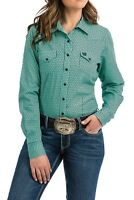Cinch Women's Turquoise Printed Snap Up Western Shirt MSW9200034