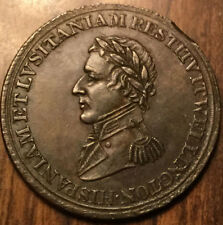 1812 LOWER CANADA HALFPENNY TOKEN WELLINGTON REEDED DIAGONALLY lightly lustrous!