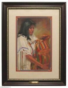 'A Small Treasure' Original Pastel Painting Carol Theroux 24 x 18.5 Frame COA