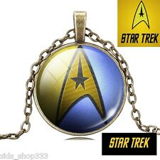 Star Trek Command blue yellow back pendant Antique Bronze color Collectible gift