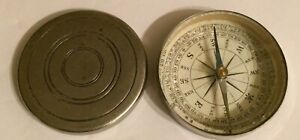 Old / Antique Pocket Compass In Silver Tone Metal Case