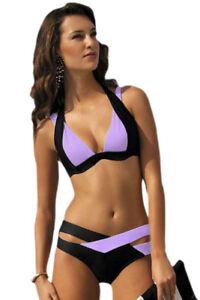Sexy costume bagno bikini da donna bicolore completo 2 pz moda mare
