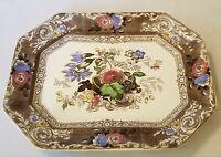 Antique Staffordshire Platter Canella Brown Polychrome by Challinor c.1842-1867