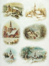 Rice Paper for Decoupage, Scrapbook Sheet, Craft Winter Landscape Cottage