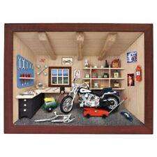 German 3D Wooden Shadow Box Picture Diorama Harley Davidson Motorcycle Workshop