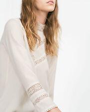 Zara basic chic chemisier L 38 40 Crème ECRU avec broderie dentelle Hakel