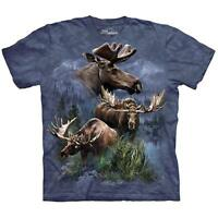 The Mountain 100% Cotton Kid's T-Shirt Blue Youth Tee Moose Collage Size M NWT