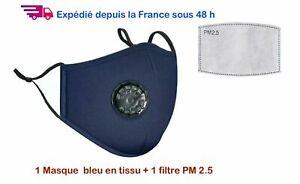 Masque tissu lavable avec valve, en coton bleu +1 filtre PM 2.5