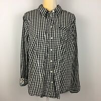 Old Navy Womens XXL Black White Gingham Plaid Button Up Shirt Long Sleeve Cotton