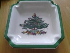 "SPODE CHRISTMAS TREE 4-1/2"" SQUARE ASHTRAY PERFECT FOR TRINKETS/CANDY GREEN TRIM"