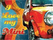 I LOVE MY Mini classico retrò anni '60 '70 AUTO GARAGE M metallo/LATTA firmare