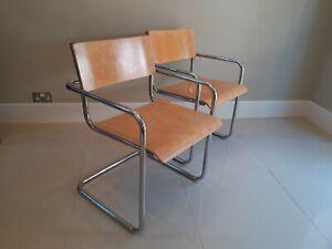Bauhaus Beech Cantilever Chrome Chairs