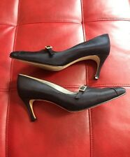 EUC Beautiful Escada Black Satin Rhinestone Pump Shoes Classic  Style 7 B
