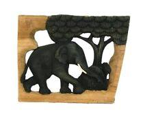 Holz-Elefant ROOTS geschnitzt mit Baum im Naturholzrahmen, Wand-Dekoration