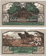 Germany 50 Pfennig 1920 Notgeld Eutin AU-UNC Banknote - Horse Plough Farming