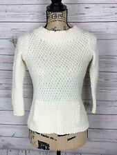 Talbots Womens Cable Knit Sweater Front Pouch Size P Petite Ivory 3/4 Sleeve