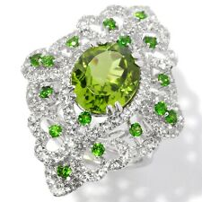Pinctore Sterling Silver Peridot and White Topaz North-south Large Cocktail Ring