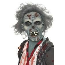 Men's Decaying Zombie Fancy Dress Mask & Hair Latex Halloween Scary Stag Theme