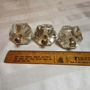 Set of 3 Vintage Antique Matching Crystal Glass 6 Side Cabinet Knobs NO CHIPS!!!