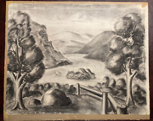 Antique Original Charcoal Sketch Art Charles Burchfield Attributed Unsigned