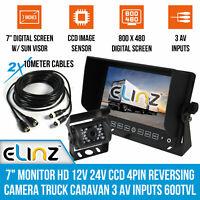 """7"""" Monitor HD 12V 24V CCD 4PIN Reversing Camera Truck Caravan 3 AV inputs 600TVL"""