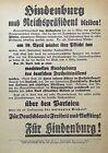 ORIGINAL- GERMAN 1932 PRESIDENTIAL ELECTION of ' PAUL von HINDENBURG ' BROADSIDE