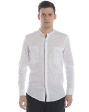 Camicia Daniele Alessandrini Shirt Lino Uomo Bianco C6443R12143802 2