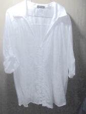 NwoT 'SAM +MAX' striped wht cotton BLOUSE SHIRT roll button sleeve Sz 2X Orig$28