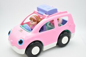 Fisher Price Little People Melody Minivan Sound Pink Car 2009 w/Mom & Baby Works