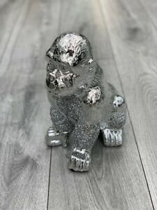 Stunning Silver Crushed Diamond Gorilla Sparkle Ornament Bling Home Decor