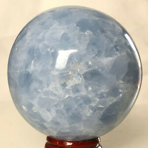 435g 68mm Natural Blue Calcite Crystal sphere Mineral Specimen Healing M391