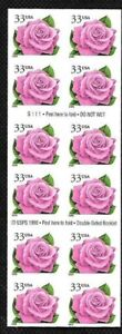 Double-sided Booklet pane of 20 33 cent Coral Pink Rose # 3052Ef mint