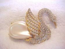 Rhinestones Pearl Cabochon Center Gold T Vintage Kenneth J Lane Swan Pin K.J.L.