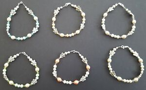 Butterfly and Pearl Beaded Silver Plated Bracelet