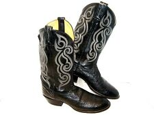 Tony Lama Quill Ostrich Exotic Leather Western Boots Black Men's Size 10 Aa