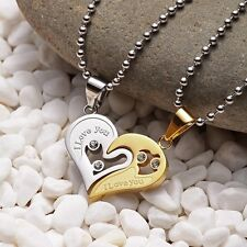 Matching Necklace Couple Pendant Steel Stainless Lovers Lover Love I You Heart