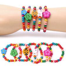 5Pcs Lovely Kid Children Wood Elastic Bead Bracelets Birthday Party Jewelry Gift