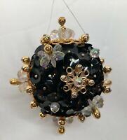 "Handmade Christmas Holiday Ornament 2 1/4"" Ball Black Gold Iridescent Sequins"