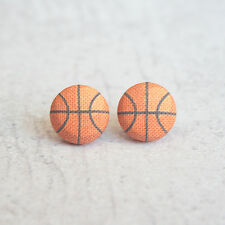 Basketball Fabric Button Earrings