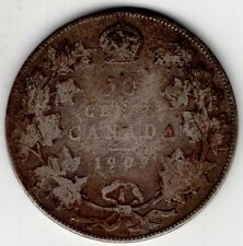 1909 CANADA FIFTY 50 CENT EDWARD VII STERLING SILVER HALF DOLLAR COIN