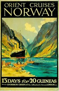 Vintage Norway Orient Line Cruise Boats Ocean Liner Travel Poster Art Reprint A4