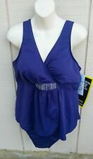 NWT MIRACLESUIT SZ 20W Womens Purple Slimming Fauxkini Swimsuit w/Sparkle Detail