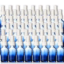 1oz Blue Glass Shaded Boston Round Bottles 48 Pk NEW w/ White Fine Mist Sprayers