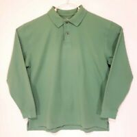 LL Bean Men's L Long Sleeve Solid green 100%  Cotton Polo Shirt