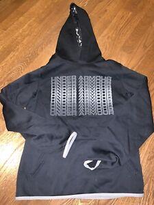 NEW Under Armour Black Grey Hooded Pullover Logo Heat Gear Unisex Kids XL