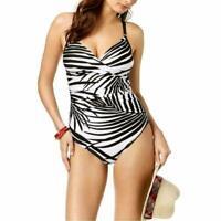 Calvin Klein Printed Twist-Front Tummy-Control One-Piece Swimsuit, Size 16, $99