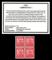 1932 - ARBOR DAY - # 717 - Vintage Mint, Never Hinged, Block of Postage Stamps