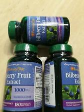 Puritan's Pride Bilberry Fruit Extract 1000mg 180 Softgel Improves Vision 3 PACK