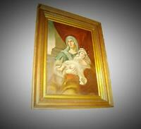 Great Antique Italian Old Masters Religious Madonna And Child Large Oil Painting