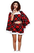 teen's red tartan fancy Christmas Santa costumes one size fit 10-12 and small 14